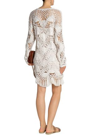 CHLOÉ Cotton and silk-blend crocheted mini dress
