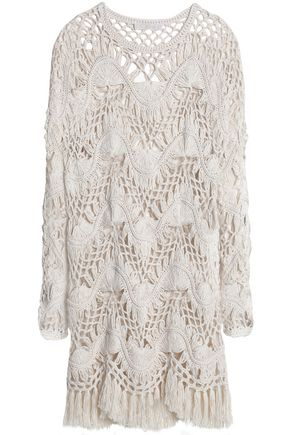 CHLOÉ Cotton and silk-blend crocheted mini dress