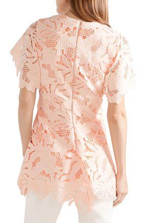 LELA ROSE Wool-blend guipure lace top
