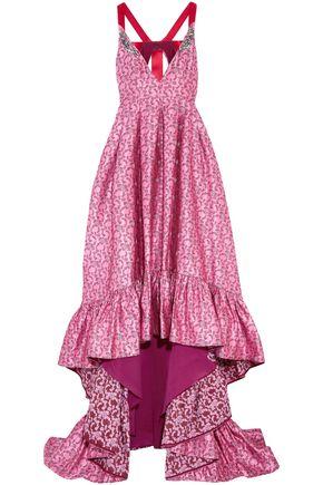 ERDEM Janet crystal-embellished ruffled satin-jacquard gown