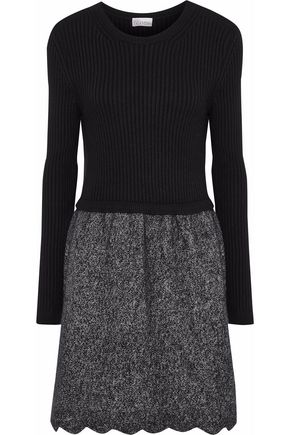 REDValentino Paneled two-tone wool-blend dress
