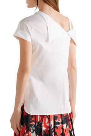 JASON WU Asymmetric cold-shoulder cotton-poplin top