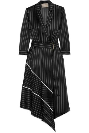 JASON WU Asymmetric striped silk-charmeuse midi dress