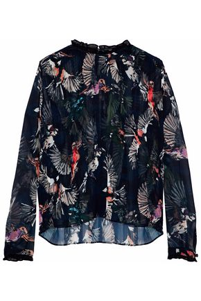 MARKUS LUPFER Pleated printed silk-chiffon blouse