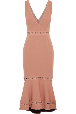 NICHOLAS Crochet-trimmed bandage midi dress