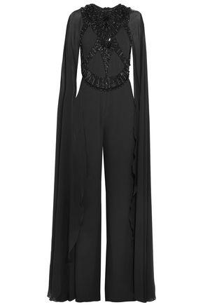 ELIE SAAB Chiffon-paneled embellished crepe jumpsuit