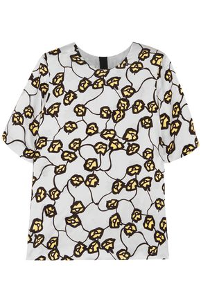 MARNI Printed satin-jacquard top