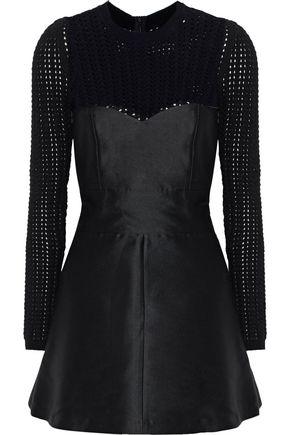 REDValentino Layered sateen and open-knit mini dress