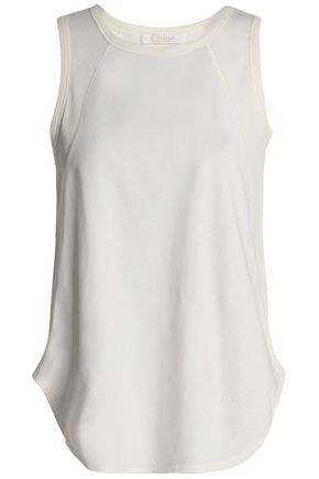 CHLOÉ Embroidered cotton-jersey tank