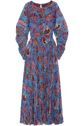 ETRO Printed plissé georgette maxi dress