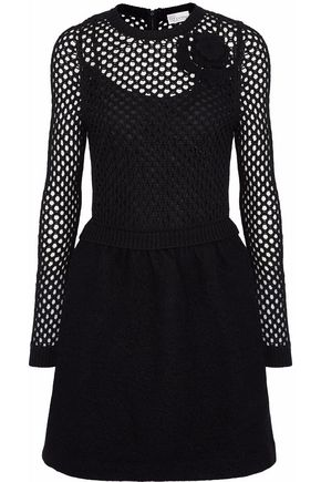 REDValentino Open knit-paneled floral-appliquéd felt mini dress
