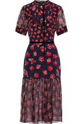MARKUS LUPFER Susie floral-print silk-chiffon and crepe de chine midi dress