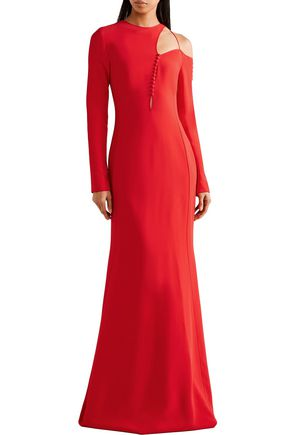 ANTONIO BERARDI Cutout button-detailed cady gown