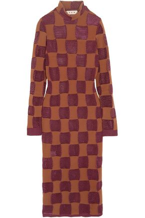MARNI Patchwork open-knit turtleneck midi dress
