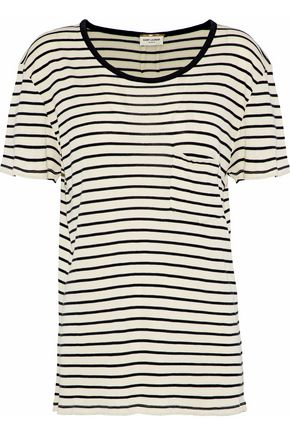 SAINT LAURENT Striped silk-jersey T-shirt