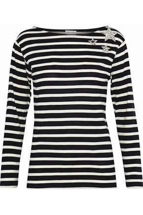 SAINT LAURENT Embellished striped cotton-jersey top