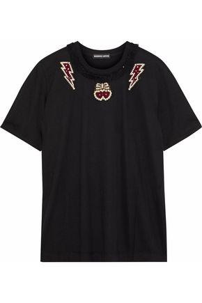 MARKUS LUPFER Alex tulle-trimmed embellished cotton-jersey T-shirt
