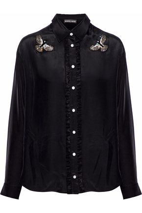 MARKUS LUPFER Cleo ruffle-trimmed embellished silk shirt