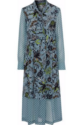 MARKUS LUPFER Alanis georgette-paneled printed silk crepe de chine midi dress