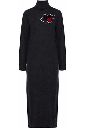 MARKUS LUPFER Studded intarsia-knit turtleneck midi dress