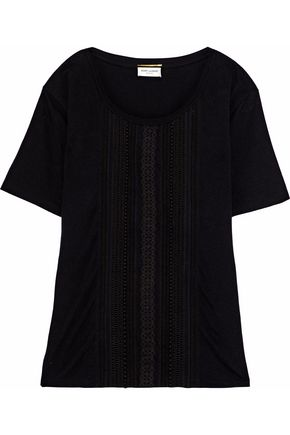 SAINT LAURENT Broderie anglaise-paneled cotton-jersey T-shirt