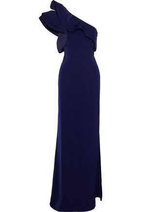 MIKAEL AGHAL One-shoulder ruffle-trimmed satin-crepe gown