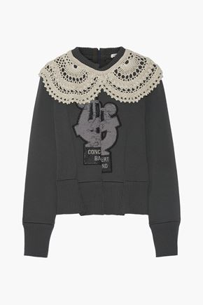 MARC JACOBS Crochet-trimmed appliquéd wool-blend sweater