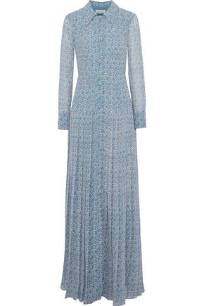 MIKAEL AGHAL Pleated printed chiffon gown