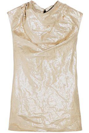 RICK OWENS Draped crinkled cotton-blend lamé top