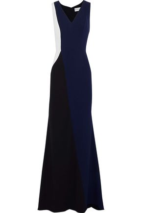 MIKAEL AGHAL Fluted color-block crepe gown
