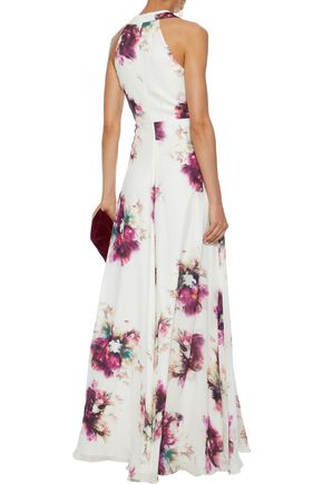 MIKAEL AGHAL Floral-print silk crepe de chine gown