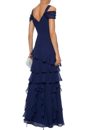 MIKAEL AGHAL Cold-shoulder tiered chiffon gown