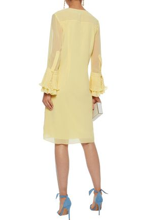 MIKAEL AGHAL Pleated ruffle-trimmed chiffon dress