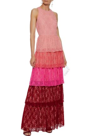MIKAEL AGHAL Tiered color-block lace gown