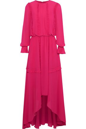 MIKAEL AGHAL Asymmetric ruffle-trimmed crepe gown