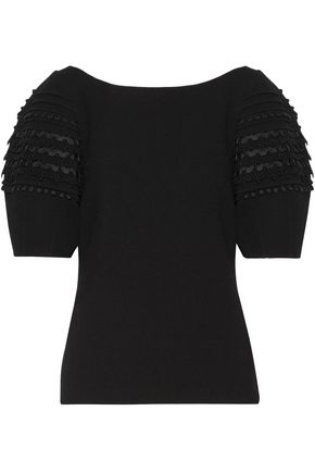 OSCAR DE LA RENTA Guipure lace-trimmed wool-blend crepe blouse