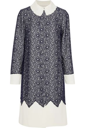 MIKAEL AGHAL Layered lace and cady shirt dress