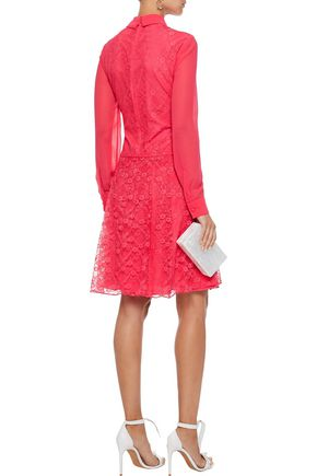 MIKAEL AGHAL Pintucked chiffon and lace shirt dress