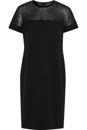 MIKAEL AGHAL Sequined tulle-paneled crepe dress