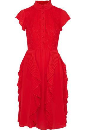 Mikael Aghal Woman Layered Crochet And Ruffled Chiffon Maxi Dress Red Size 14 Mikael Aghal wnBzVfF