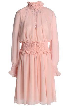 MIKAEL AGHAL Ruffle-trimmed smocked chiffon dress