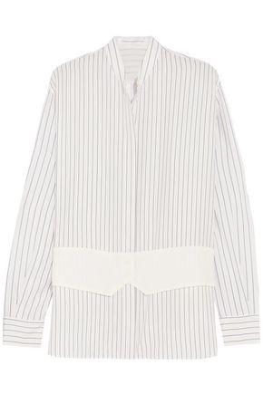 VICTORIA BECKHAM Crepe-paneled pinstriped silk crepe de chine shirt