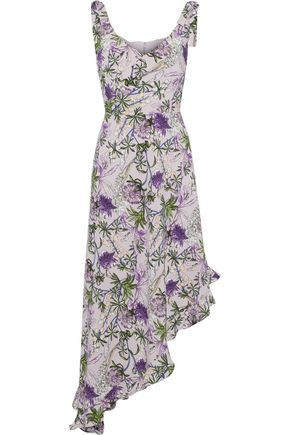 MIKAEL AGHAL Asymmetric wrap-effect floral-print crepe de chine dress