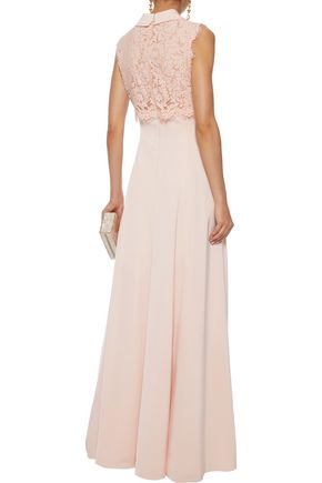 MIKAEL AGHAL Corded lace-paneled satin gown
