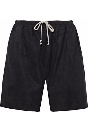 RICK OWENS Brushed textured-leather shorts