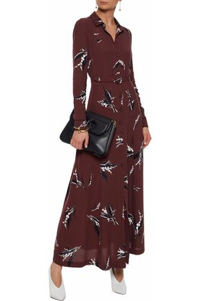 GANNI Belted printed crepe maxi dress