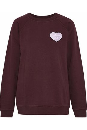 GANNI Appliquéd cotton-fleece sweatshirt
