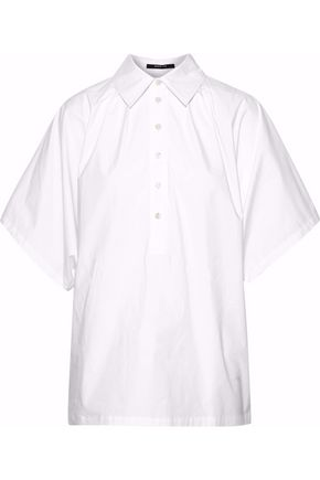 DEREK LAM Pleated cotton-blend poplin shirt