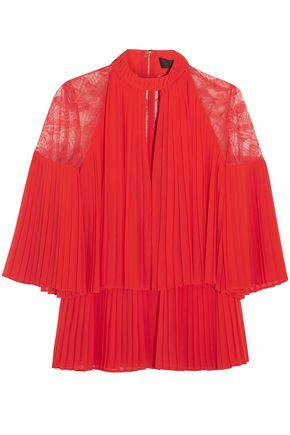 ELIE SAAB Lace-paneled cutout pleated chiffon blouse