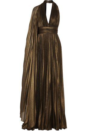 ELIE SAAB Cape-effect plissé-lamé halterneck gown